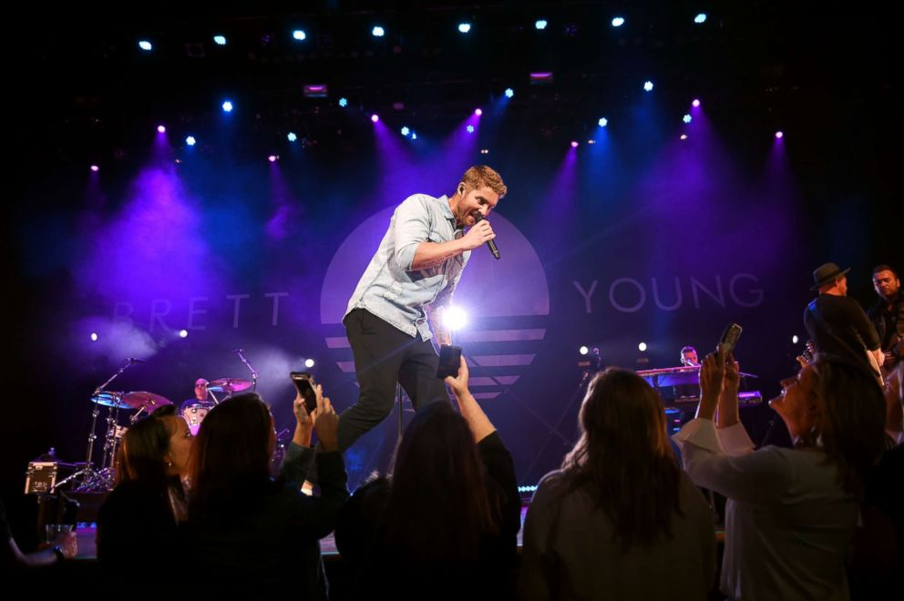 PHOTO: Brett Young performs at the Ryman Auditorium, Oct. 10, 2018, in Nashville.