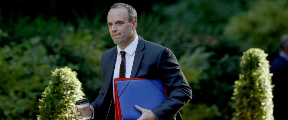 PHOTO: Britains Secretary of State for Exiting the European Union Dominic Raab arrives for a cabinet meeting on Brexit at 10 Downing Street in London, Sept. 13, 2018.