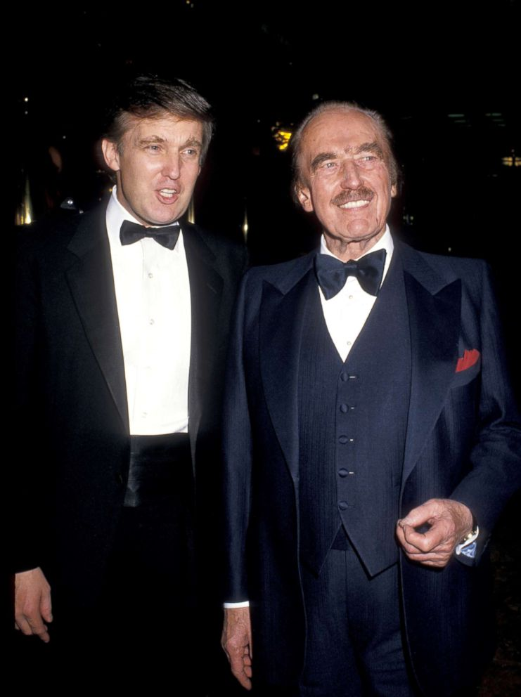 PHOTO: Donald Trump, left, and father Fred Trump celebrate the launch of The Art of the Deal at Trump Towers in New York City.