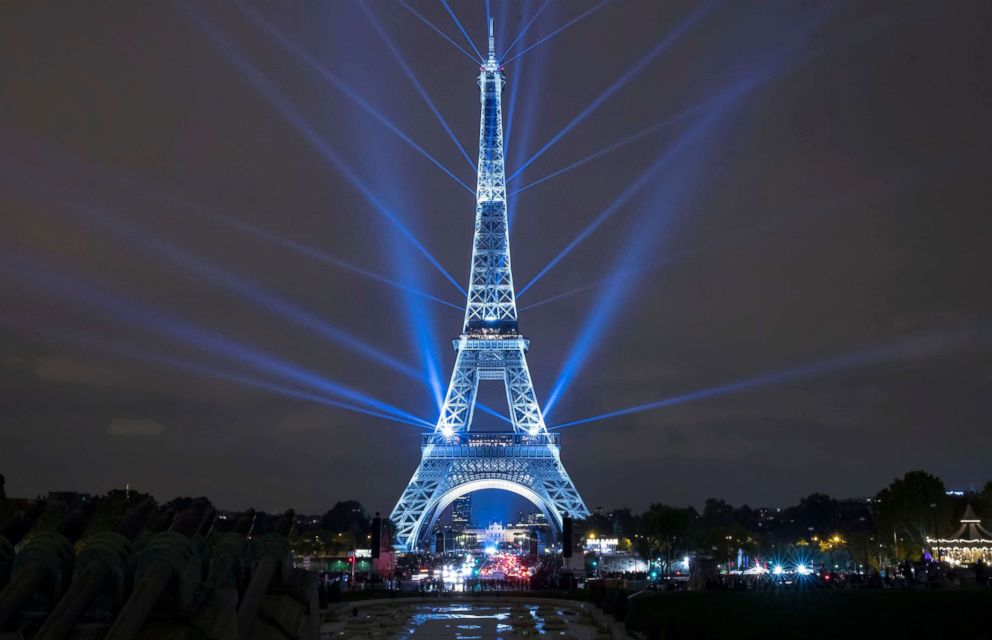 PHOTO: The Eiffel Tower is illuminated during a projection celebrating Japan, launched by Japans Crown Prince Naruhito during a ceremony at the Theatre Chaillot in Paris, Sept. 13, 2018.
