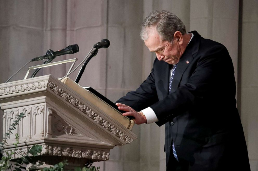 PHOTO: Former President George W. Bush speaks at the State Funeral for his father, former President George H.W. Bush, at the National Cathedral, Dec. 5, 2018, in Washington.