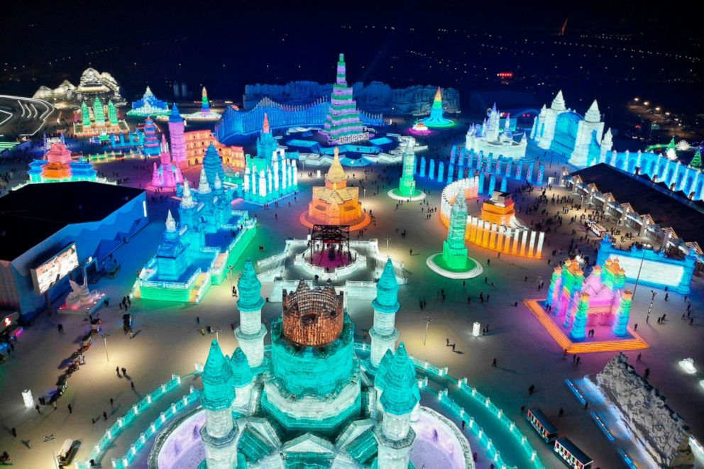 PHOTO: An aerial belief presentations ice sculptures throughout the annual Harbin Ice and Snow Festival in China, Jan. 7, 2019.