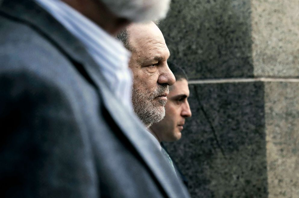 PHOTO: Harvey Weinstein, center, departs Manhattan criminal courtroom following a hearing in his sexual assault case in New York City, Dec. 20, 2018.