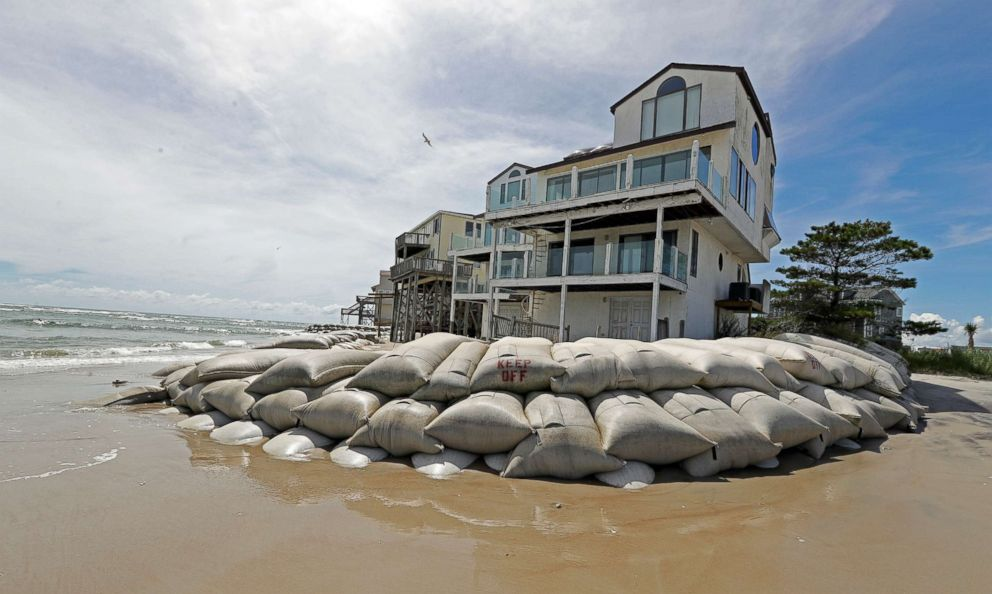 Chuck Burton  APSand bags surround homes on North Topsail Beach N.C. Sept. 12 2018 as Hurricane Florence threatens the coast
