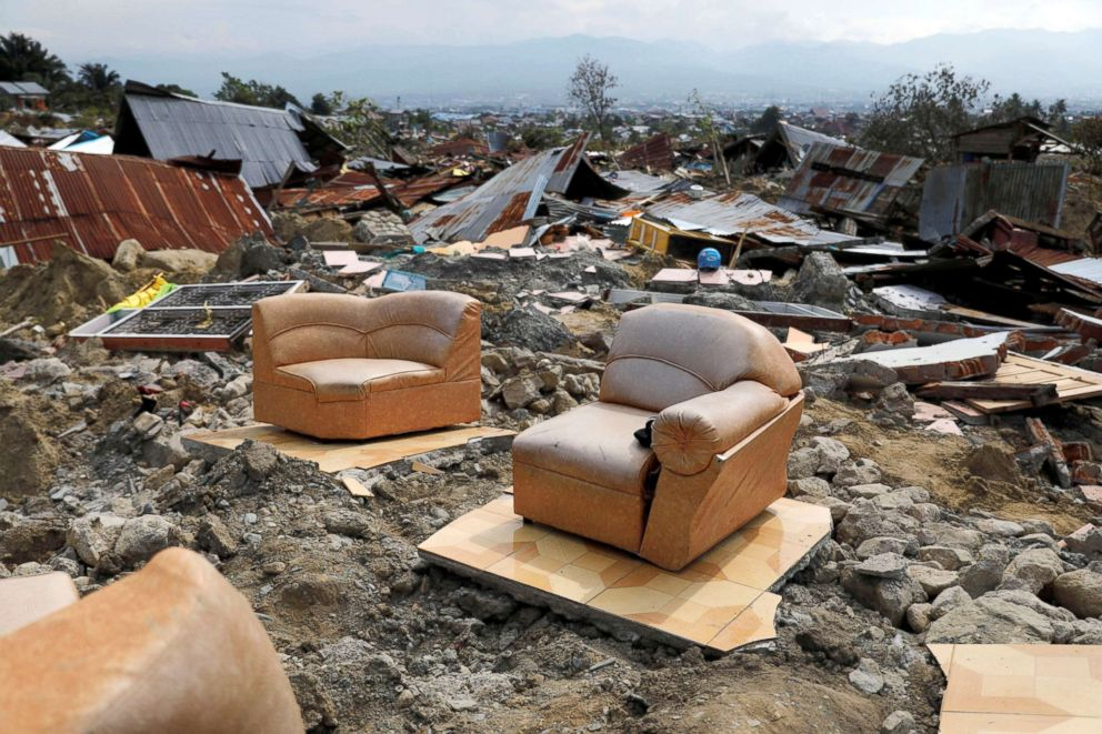 PHOTO: A sofa is seen among the ruins of a house after an earthquake hit Balaroa sub-district in Palu, Indonesia, Oct. 4, 2018.