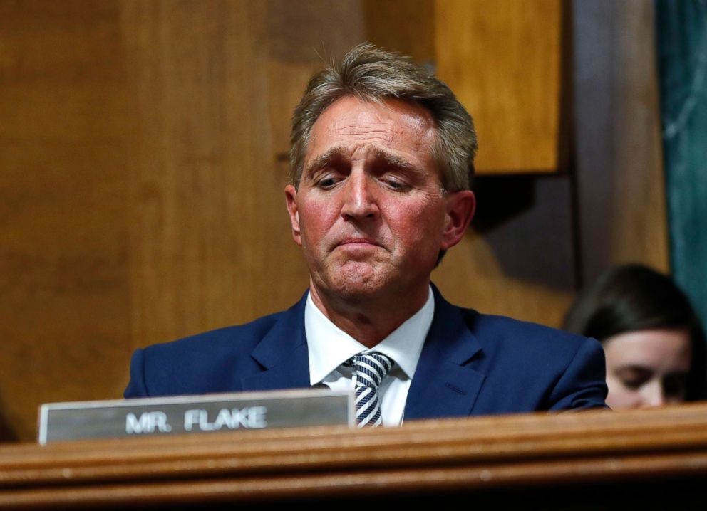 PHOTO: Sen. Jeff Flake after speaking during the Senate Judiciary Committee hearing about an investigation, Sept. 28, 2018, on Capitol Hill in Washington.