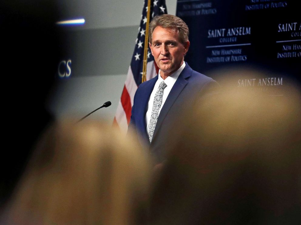 PHOTO: Sen. Jeff Flake addresses a gathering in Manchester, N.H., Oct. 1, 2018.