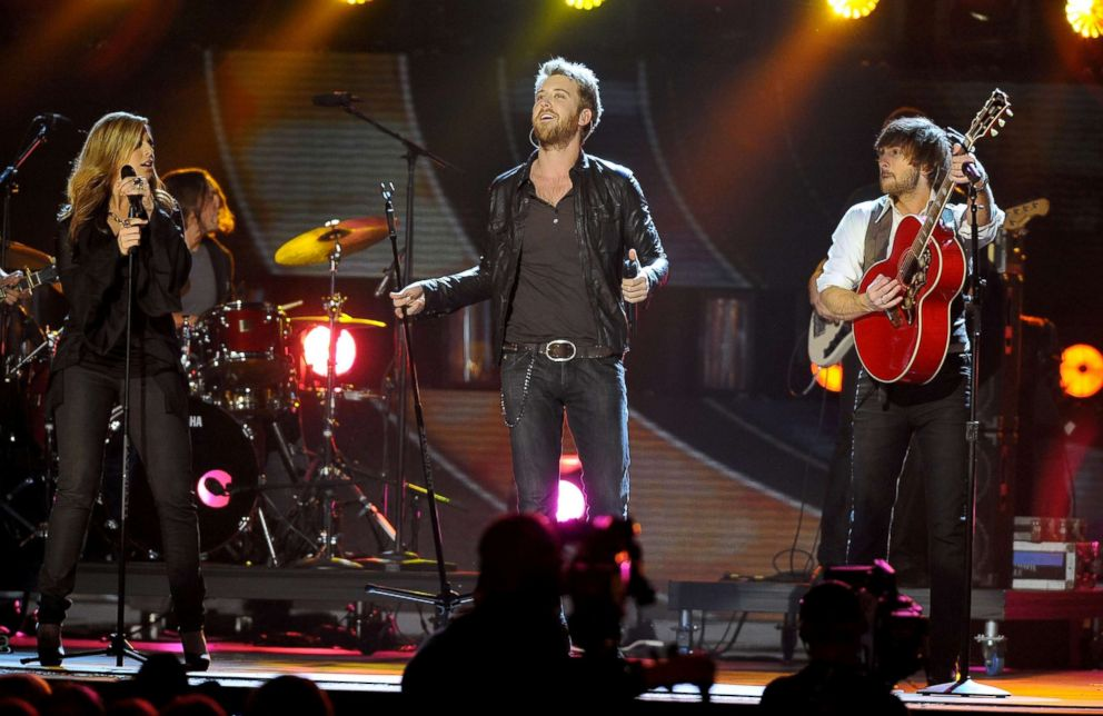 PHOTO: Musicians Hillary Scott Charles Kelley and Dave Haywood of Lady Antebellum perform during the 42nd annual CMA Awards, Nov. 12, 2008, in Nashville.