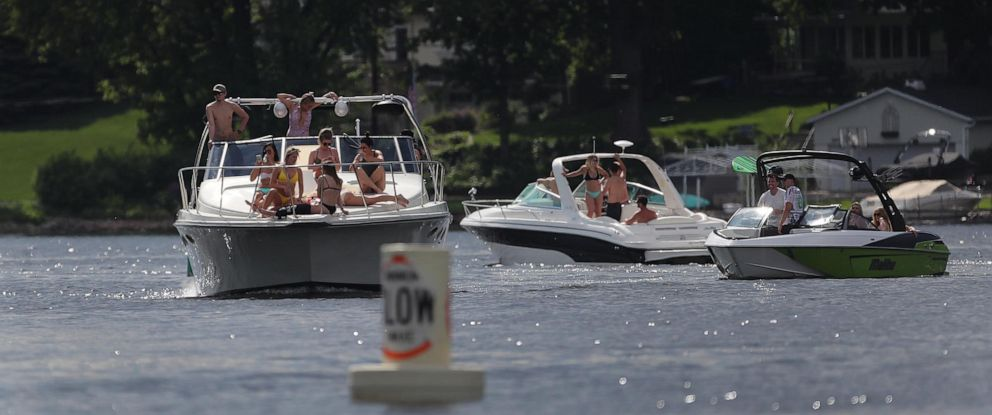 PHOTO: In this file photo, boats cruise the waters of Lake Minnetonka near Lord Fletchers Friday, May 25, 2018, in Minnetonka Beach, MN.