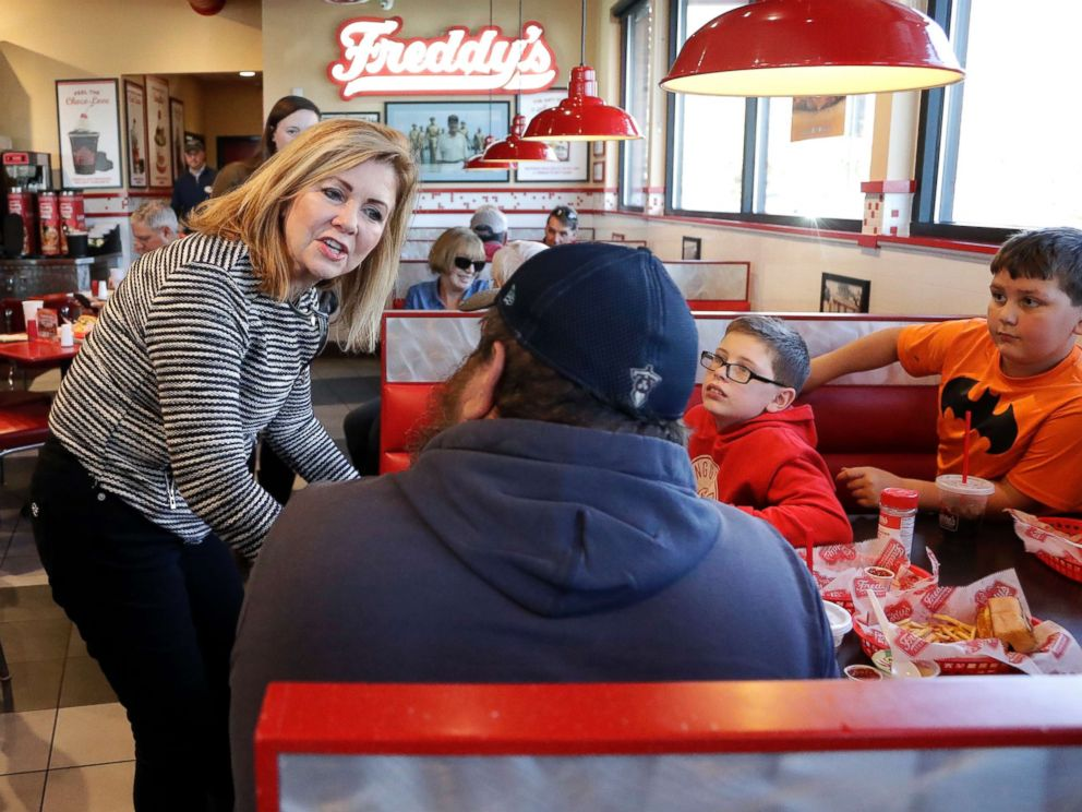 PHOTO: Rep. Marsha Blackburn campaigns at Freddys Frozen Custard & Steakburgers, Nov. 6, 2018, in Clarksville, Tenn.