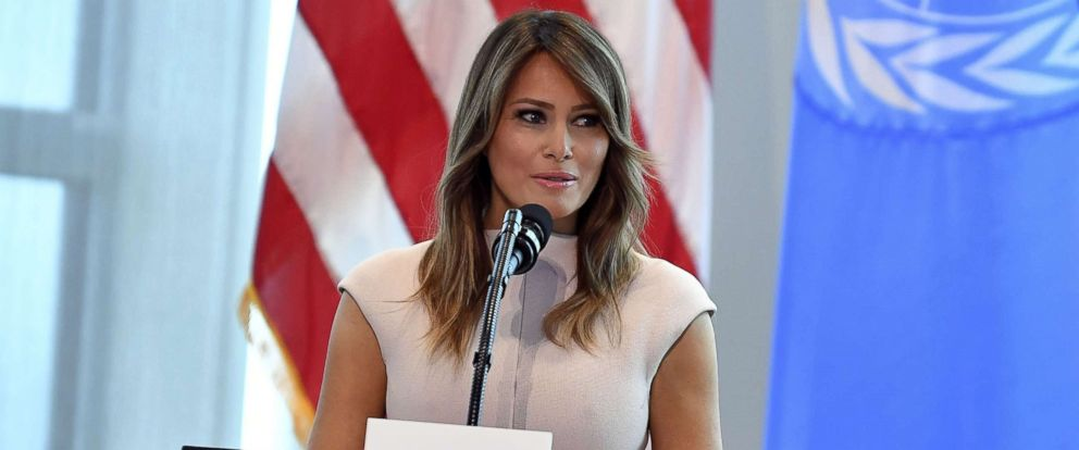PHOTO: First Lady Melania Trump hosts a reception for spouses of visiting heads of State and others at the US Mission to the United Nations in New York City, Sept. 26, 2018.