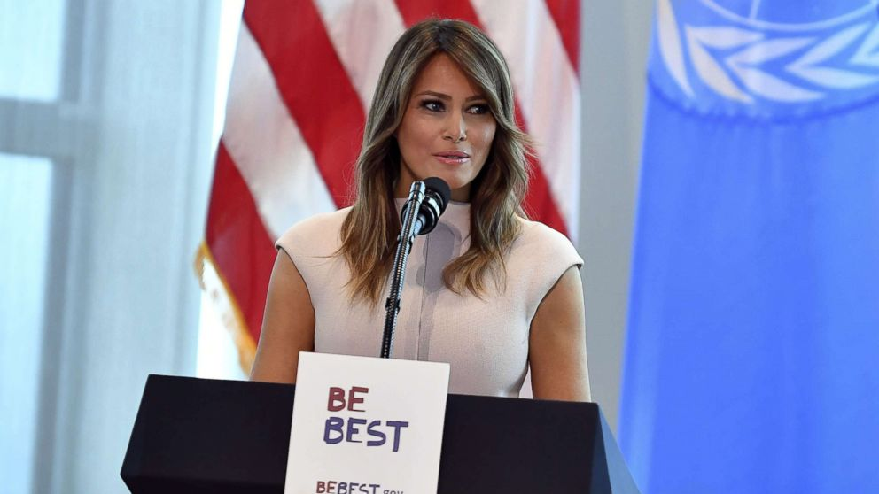 First Lady Melania Trump hosts a reception for spouses of visiting heads of State and others at the US Mission to the United Nations in New York City, Sept. 26, 2018.