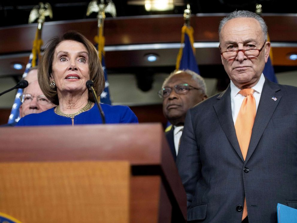 PHOTO: Speaker of the House Nancy Pelosi and Senate Democratic Leader Chuck Schumer hold a press conference on Capitol Hill in Washington, DC, May 22, 2019, following a meeting with US President Donald Trump at the White House.