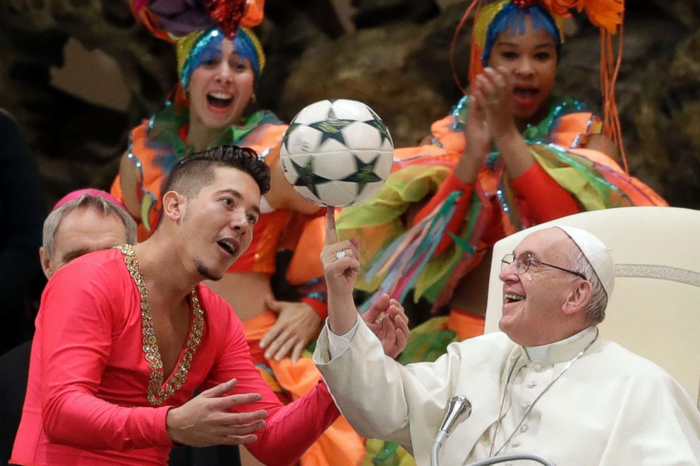 PHOTO: Pope Francis twirls a soccer ball he was presented by a member of the Circus of Cuba, during his weekly general audience in the Pope Paul VI hall, at the Vatican, Jan. 2, 2019.