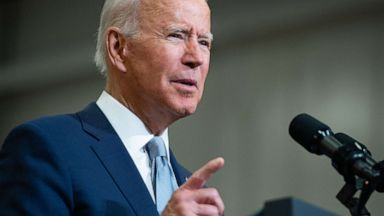 PHOTO: President Joe Biden speaks about his Build Back Better economic plans after touring McHenry County College in Crystal Lake, Ill., July 7, 2021.