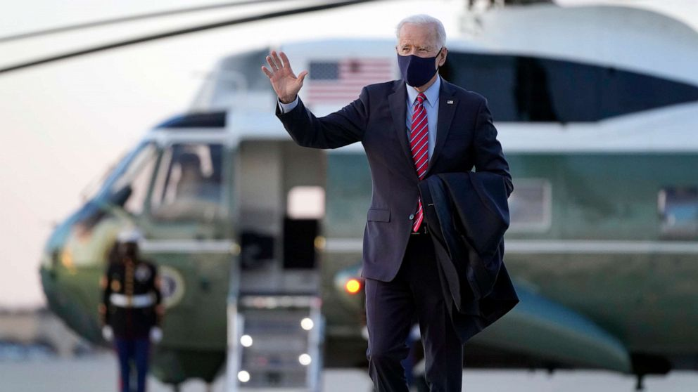 PHOTO: President Joe Biden walks to board Air Force One at Andrews Air Force Base, Md., Feb. 5, 2021. Biden is spending the weekend at his home in Delaware.