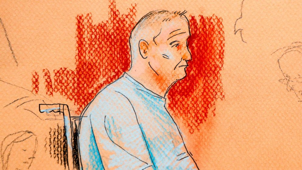 This courtroom sketch depicts Robert Gregory Bowers, who was wounded in a gun battle with police as he appeared in a wheelchair at federal court, Oct. 29, 2018, in Pittsburgh.
