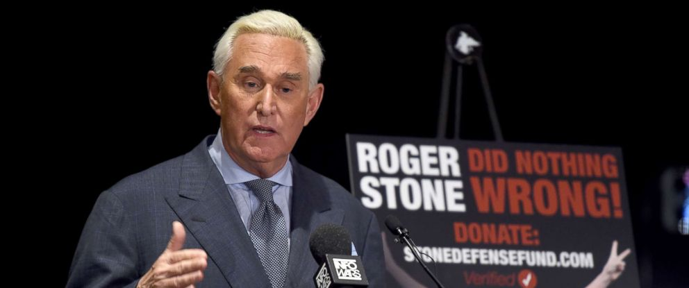 PHOTO: Roger Stone, ally of President Donald Trump, speaks to the press in Washington, DC, Jan. 31, 2019.