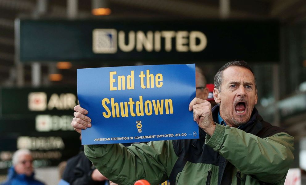 PHOTO: Several dozen federal employees and supporters demonstrated at the Sacramento International Airport calling for President Donald Trump and Washington lawmakers to end then partial government shutdown, Jan. 16, 2019, in Sacramento, Calif.