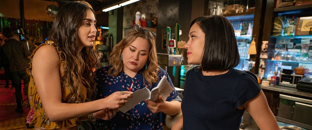 """PHOTO: Creator and Showrunner Tanya Saracho works with members of the cast and crew of the Starz show, """"Vida."""""""