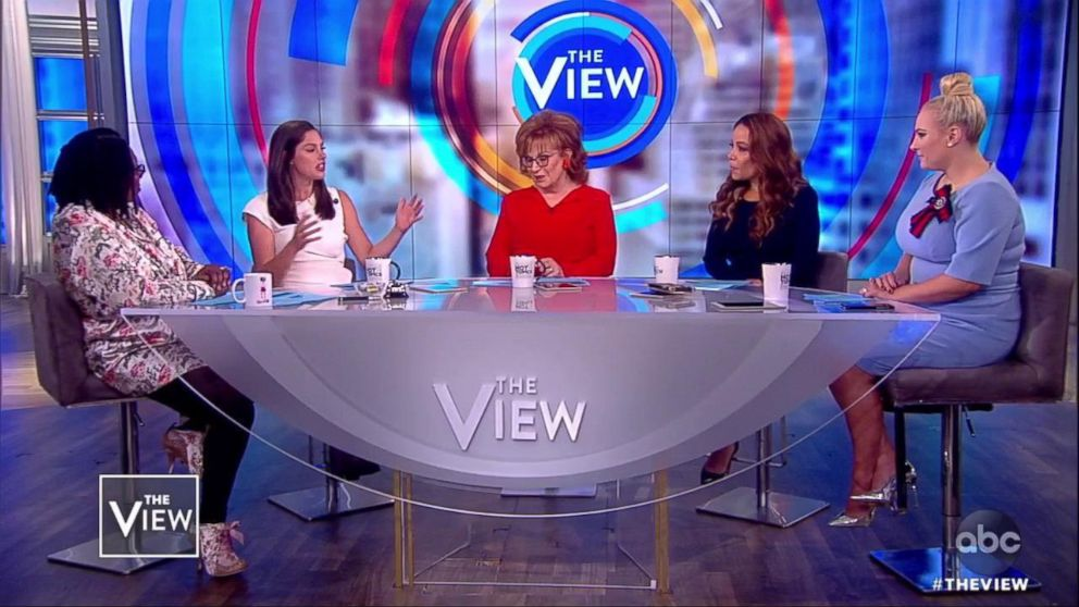 """""""The View"""" co-hosts react to the new app Donald Daters on Oct. 17, 2018."""
