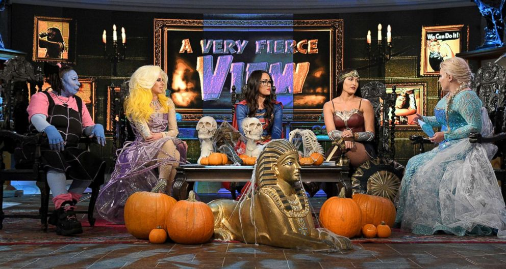"""Twin sisters and WWE stars Brie Bella and Nikki Bella joined """"The View"""" on Halloween."""
