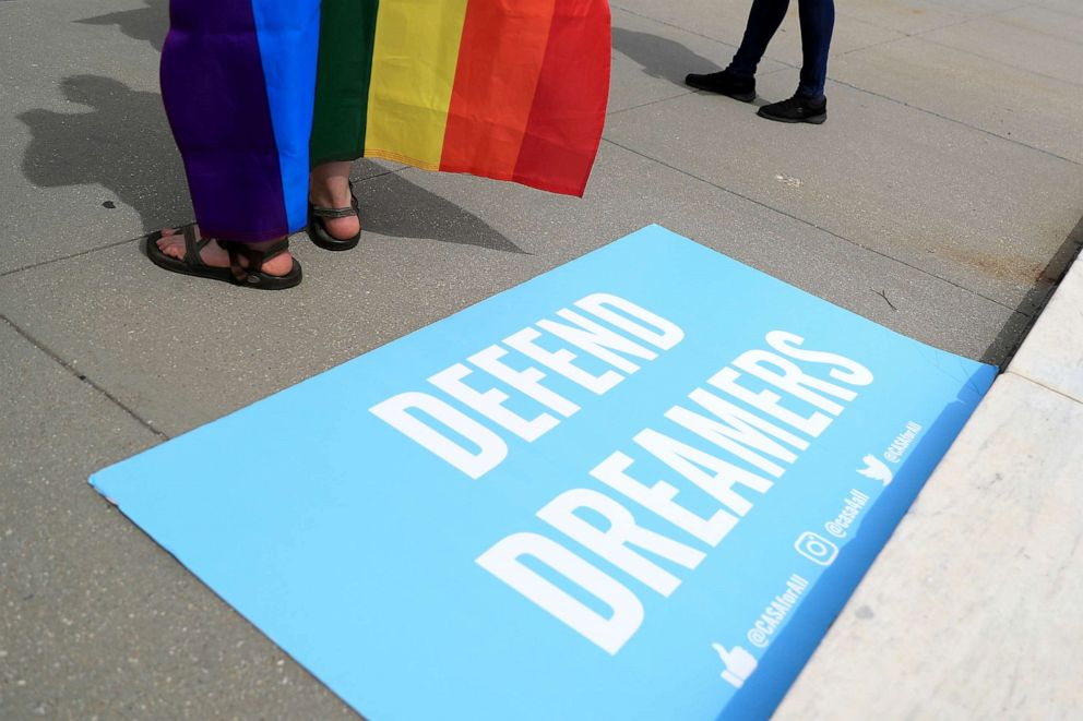 PHOTO: A sign in support of DACA Dreamers lies at the steps of the U.S. Supreme Court after the court declined to hear a Trump administration challenge to California's sanctuary laws, in Washington, June 15, 2020.