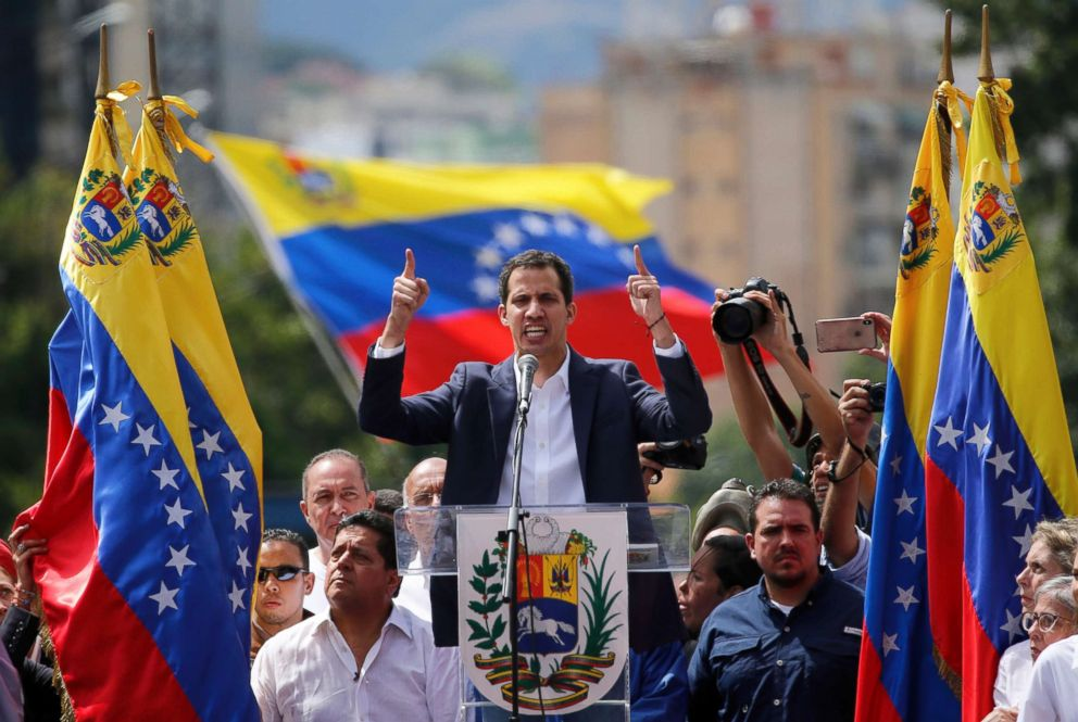 PHOTO: Juan Guaido, head of Venezuelas opposition-run congress, declares himself interim president of the nation until elections can be held during a rally demanding President Nicolas Maduros resignation in Caracas, Venezuela, Jan. 23, 2019.