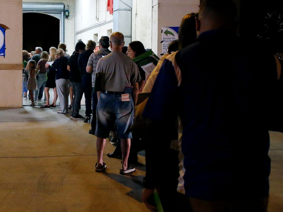PHOTO: Folks wait in line to vote at a polling attach in Miami, leisurely Nov. 6, 2018.