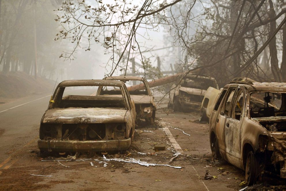 PHOTO: Burnt out vehicles are seen on the side of the road in Paradise, California after the Camp fire tore through the area, Nov. 10, 2018.