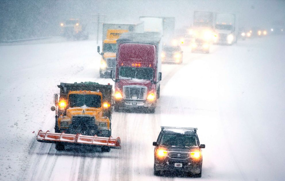 PHOTO: Snow-covered roads made traffic move slowly on I-85 in Lexington, North Carolina, Dec. 9, 2018.