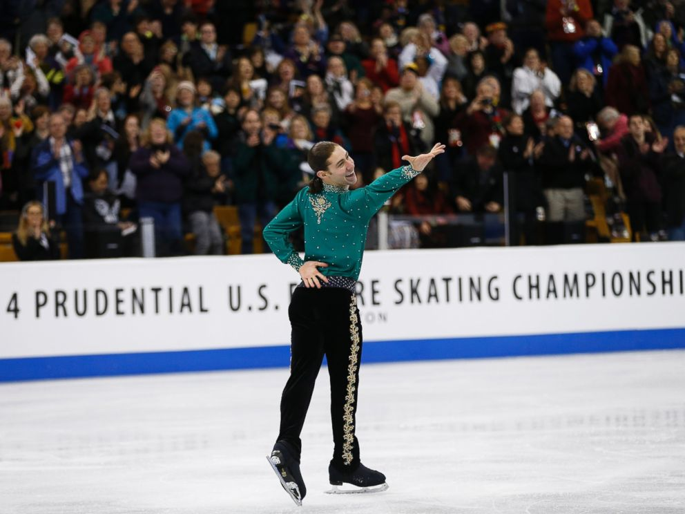 PHOTO: Jason Brown reacted after skating in Group 4. The mens free skate of the 2014 Prudential U.S. Figure Skating Championships took place at the TD Garden in Boston, Jan. 12, 2014.