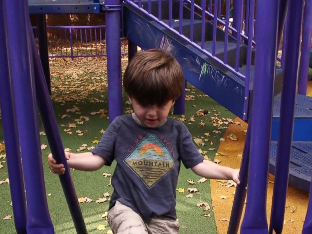 PHOTO: Toddler Lennon Landry plays on a playground at Vanderbilt University in Nashville, Tennessee. He is a frequent participant of autism studies at the school.