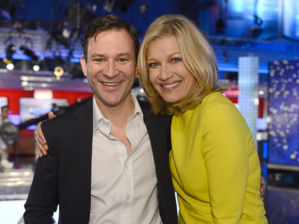 PHOTO: Dan Harris is pictured with Diane Sawyer, who signed off on her last broadcast as anchor of World News, on Aug. 27, 2014 in New York City.