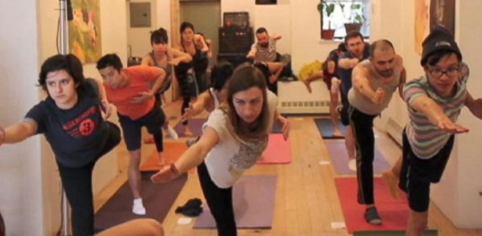 PHOTO: Yoga practioners get their moves guided by a dungeon master in this Brooklyn-born activity.