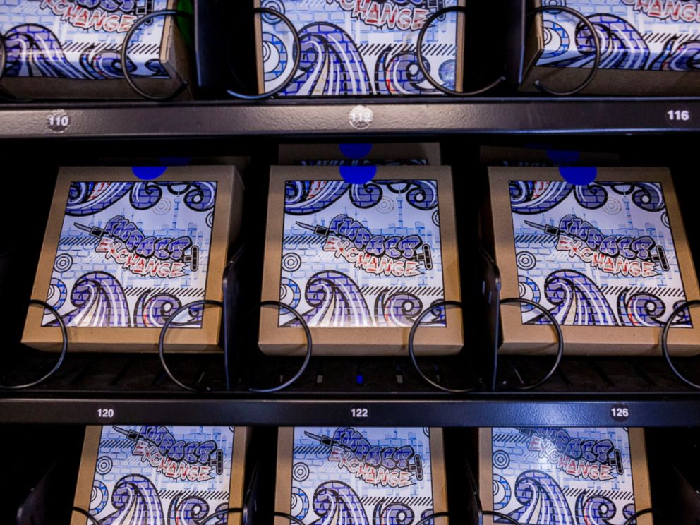 PHOTO: A vending machine that dispenses clean needles is displayed at the Southern Nevada Health District in Las Vegas. Three machines, that will dispense clean needles, will be available for use by the end of May in centers around Las Vegas.