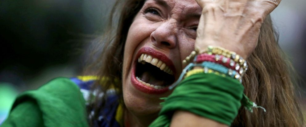 PHOTO: A Brazil soccer fan cries as Germany scores against her team at a semifinal World Cup match as she watches the game on a live telecast in Belo Horizonte, Brazil on July 8, 2014.