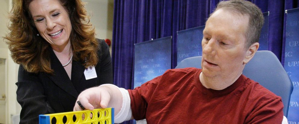 PHOTO: Double hand transplant recipient Jeff Kepner, right, works with hand therapist Kimberly Maguire after discussing his nine-hour, May 4, 2009 surgery at the University of Pittsburgh Medical Center in Pittsburgh, July 16, 2009.