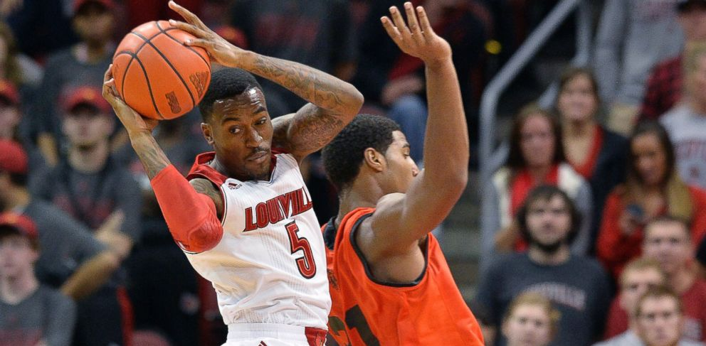 PHOTO: Louisvilles Kevin Ware, left, rebounds during the second half of an NCAA college basketball exhibition game, Nov. 6, 2013, in Louisville, Ky.