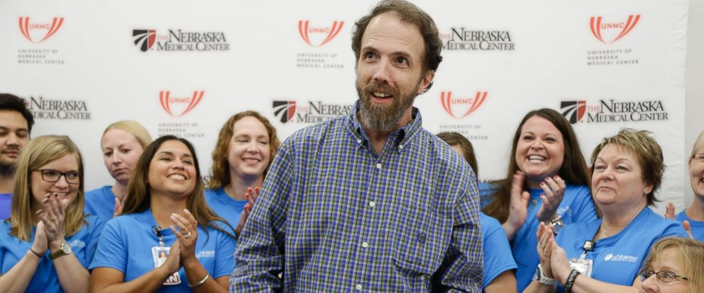 PHOTO: Dr. Richard Sacra arrives to a news conference at the Nebraska Medical Center in Omaha, Neb. on Sept. 25, 2014.
