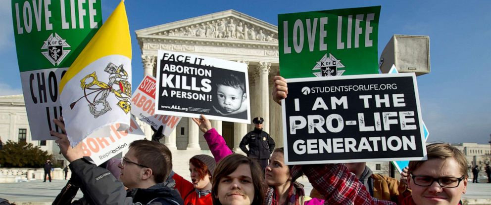 PHOTO: Anti-abortion activists protest outside of the Supreme Court, during the March for Life, Jan. 18, 2019.