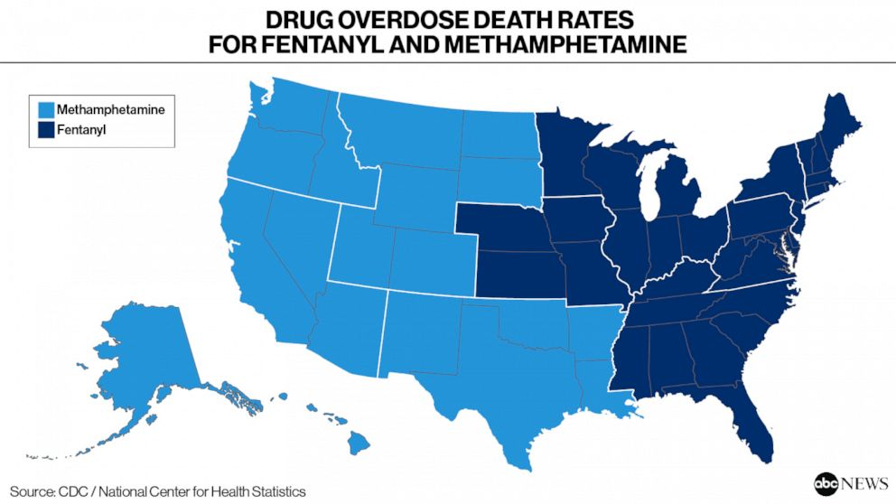 Drug Overdose Death Rates for Fentanyl and Methamphetamine