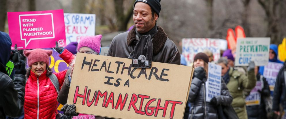 "PHOTO: Participants in the ""March for Health"" demanding equitable and affordable access to quality healthcare, on April 01, 2017, in New York City."
