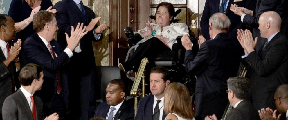 PHOTO: Megan Crowley, center, is applauded during President Trumps address to a joint session of Congress, Feb. 28, 2017 in Washington, DC. At 15 months old, Megan was diagnosed with Pompe Disease and not expected to live more than a few short years.
