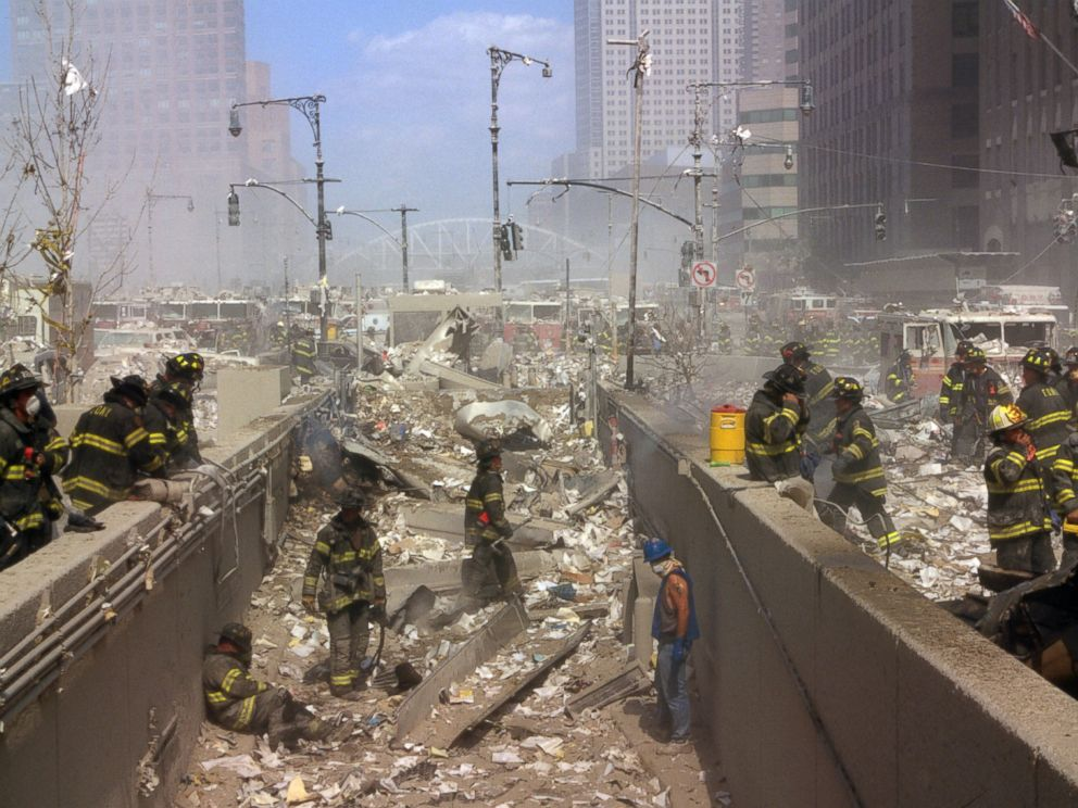 PHOTO: New York Firefighters amid the rubble of the World Trade Centre following the 9/11 attacks.