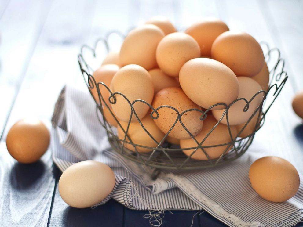 PHOTO: Close up of fresh farm eggs in a wire basket in this undated stock photo.