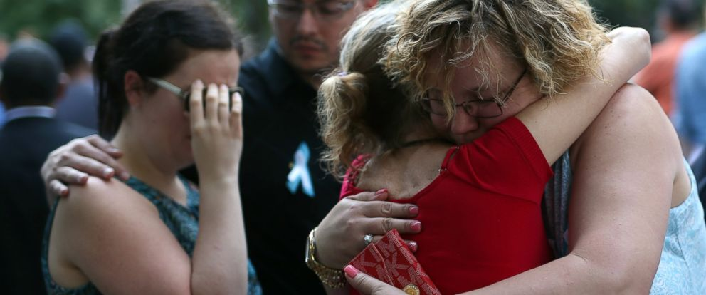 PHOTO: Women embrace each other on the 15th anniversary of the 9/11 in Ground Zero, on Sept. 11, 2016, in New York City.