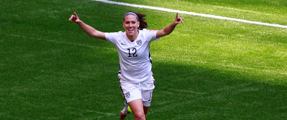 PHOTO: Lauren Holiday #12 of the United States celebrates as she scores her first goal in the first half against Japan in the FIFA Womens World Cup Canada 2015 Final at BC Place Stadium on July 5, 2015 in Vancouver, Canada.