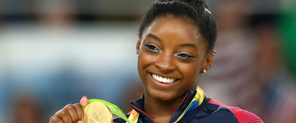 PHOTO: Gold medalist Simone Biles of the United States celebrates on the podium at the medal ceremony for the Womens Floor on Day 11 of the Rio 2016 Olympic Games on Aug. 16, 2016 in Rio de Janeiro.