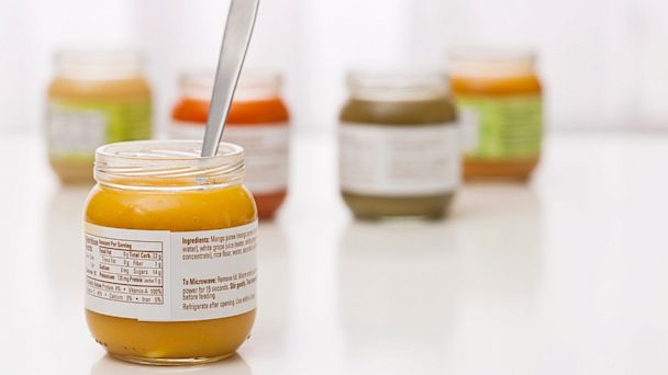 PHOTO: Jars of baby food are seen here.